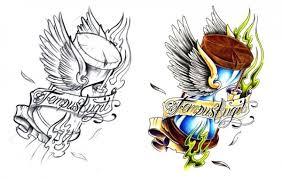 Time flies - Tattoo Flash of Flying Hour Glasses | Tattoo art ...