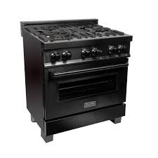 ZLINE 30 in. <b>Black</b> Stainless 4.0 cu. ft. 4 Gas Burner/<b>Electric</b> Oven ...