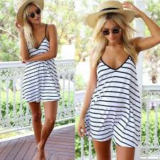 <b>Summer</b> Women's <b>Backless</b> Dress | V Collar Stripes | Loose Lady ...