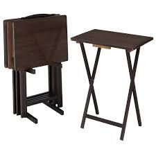 Mainstays Walnut <b>5</b>-<b>Piece</b> Folding TV Tray Table <b>Set</b> (4 Trays, 1 ...