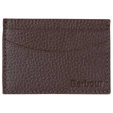 Barbour <b>Grain Leather Card</b> Holder, Brown at John Lewis & Partners