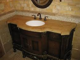 f art deco brown varnished teak wood cabinet vanity for bathroom having cared accent using brown double oge edge profile marble top 4000x3000
