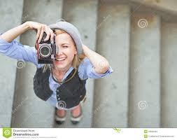 Happy <b>Hipster</b> Girl Making <b>Photo</b> With <b>Retro Camera</b> On City Street ...