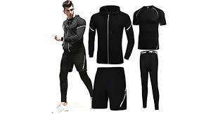 <b>4 pcs</b>/<b>set</b> Men's gym workout clothes short sleeved two-<b>piece</b> ...