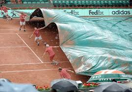 Pulling Tennis Court Cover Into Place