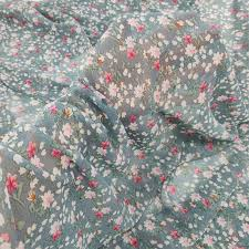 Blue Grey <b>Chiffon</b> Print Material Elegant <b>Floral Dress Fabrics</b> Tecido ...