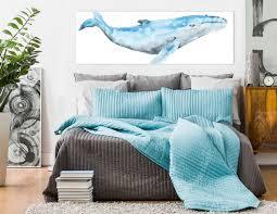 Humpback whale, blue & gray nautical <b>watercolor wall art</b>. Ready to ...