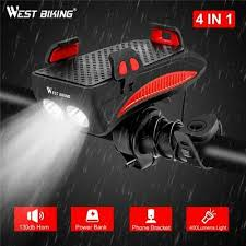 Bike Flashlight <b>4 IN 1 Multifunction</b> Light Horn <b>Phone</b> Holder Alarm ...
