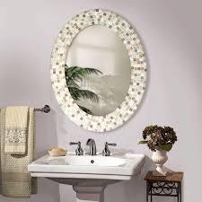 framed bathroom mirror oval wall oval framed bathroom mirrors with mosaic tile pattern
