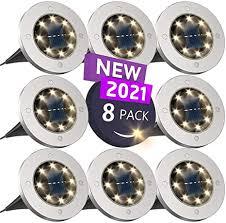 Solar Ground Lights, Disk Lights Solar Powered - 8 ... - Amazon.com