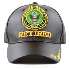 3D Embroidered Soft <b>Faux Leather</b> Retired <b>Military</b> Velcro <b>Cap</b>