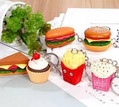 <b>2019</b> Kawaii Emoji <b>Simulation Food</b> KeyChain Hamburger Fries ...