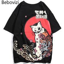 <b>Bebovizi</b> Japanese Streetwear Style Ukiyo E Cat Printed T shirt <b>Hip</b> ...