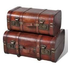 Shop vidaXL <b>Wooden Treasure Chest 2</b> pcs Vintage Brown ...