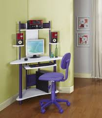 fascinating triangle white finish wooden corner desk for kids with purple polished powder coated steel black glass top corner