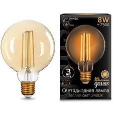 <b>Лампа Gauss</b> LED <b>Filament</b> G95 E27 8W Golden 2400K <b>105802008</b> ...