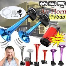 <b>12V</b> Blue/Red/Silver/Purple <b>178dB</b> Dual <b>Super Loud</b> Air Horn ...