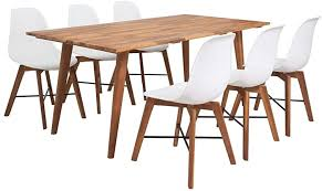 vidaXL <b>Seven Piece Solid</b> Acacia Wooden Dining Set Table and ...