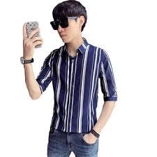 LOLDEAL Summer Thick Striped Shirt Men Half Sleeve Shirt Slim Fit ...