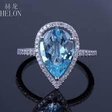 2019 <b>HELON Solid 10k White</b> Gold Pear Cut 8x12mm Natural Blue ...