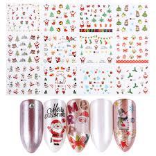 <b>12pcs</b> Christmas <b>Nail Stickers Water Decals</b> Snowman Santa ...