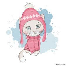 """ Illustration of <b>cute kitten</b> .Its is wearing a knitted hat and <b>sweater</b> ..."