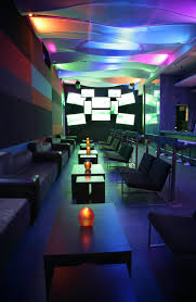 marvellous bar and lounge designs with colorful ceiling light on the room and black gray fabric black fabric lighting