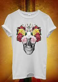 Men's Clothing <b>Floral Skull</b> Roses <b>Vintage</b> Fun Men Women Long ...