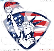 clipart statue of liberty holding up a torch in an american flag clipart statue of liberty holding up a torch in an american flag shield royalty vector illustration by patrimonio