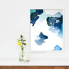 wall decor blue abstract painting white light