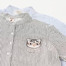 Women's Cute <b>Glasses Cat Embroidered</b> Striped O-neck Standard ...