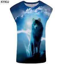 <b>KYKU Brand</b> Wolf Tank Top Men Cloud Mens Bodybuilding ...