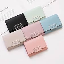<b>Korean Fashion Fold</b> Over <b>Lady</b> Purses <b>Women's</b> Small Card Wallet ...