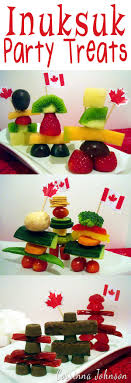 decor catalog parties canada lovely edible inukshuk statues made with candy and an assortment of fruit veg