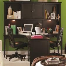 u shaped brown polished oak wood two person office desk with black black wood office desk 4