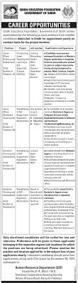 govt jobs in sindh education foundation sef karachi new jobs related govt jobs in sindh education