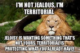 I'm not jealous, I'm territorial Jeloisy is wanting something ... via Relatably.com