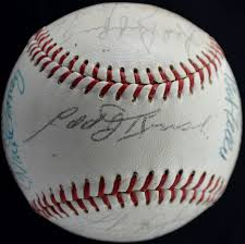 lot detail s hall of fame induction signed baseball  1960s hall of fame induction signed baseball 21 signatures including stengel grove