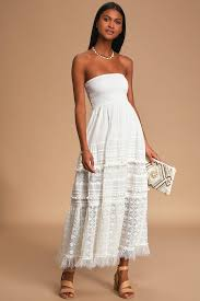 Purely <b>Sweet Off</b> White Lace Smocked Strapless Maxi Dress