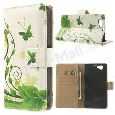 Green Leaves and <b>Butterflies Wallet Leather Case</b> for Sony Xperia ...