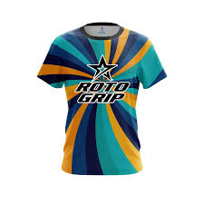 Roto Grip Orange And <b>Blue Color</b> Swirl CoolWick Bowling Jersey + ...