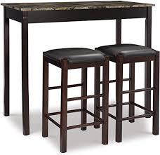 Linon Brown 3-Piece Table Faux Marble Tavern Set ... - Amazon.com