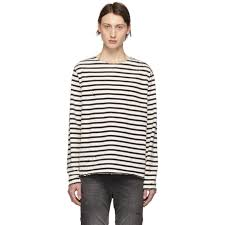R13 Black and <b>Off White</b> Breton Long Sleeve T Shirt ...