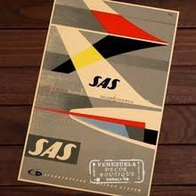 SAS авиакомпания Caravelle в 22 города, винтажный Ретро ...