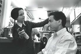 christina ricci and writer paul rudnick on the set of addams family values addams family set
