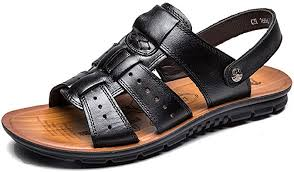 LIEBE721 <b>Men's Shoes Leather Flat</b> Summer Holiday Slide Buckle ...