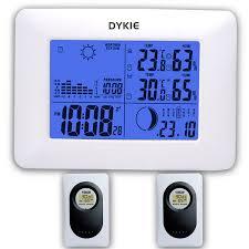 2018 <b>DYKIE</b> White RF Digital Clock <b>Wireless Weather</b> Station With ...