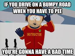 If you drive on a bumpy road when you have to pee You're gonna ... via Relatably.com