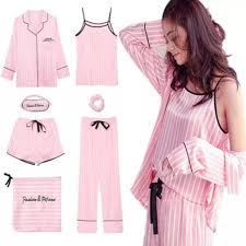2019 Pink Striped <b>Pajamas</b> Silk Satin <b>Femme Pajama</b> Set Stitch ...