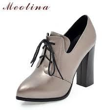 Meotina <b>Genuine Leather</b> Shoes <b>Women</b> Pumps <b>High Heels</b> Lace ...
